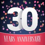 30 years anniversary vector icon, logo. Template design, banner with festive background and cut out numbers for 30th anniversary greeting card Stock Photos