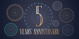 5 years anniversary vector icon, logo. Template design, banner with fireworks for 5th anniversary greeting card, can be used as decoration element Stock Photography