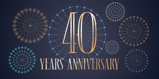 40 years anniversary vector icon, logo. Template design, banner with fireworks for 40th anniversary greeting card, can be used as decoration element Royalty Free Stock Photos