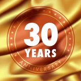 30 years anniversary vector icon, logo. Template design element with golden medal in silk for 30th anniversary greeting card, can be used as decoration element Royalty Free Stock Photos
