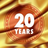 20 years anniversary vector icon, logo. Template design element  with golden medal in silk for 20th anniversary greeting card, can be used as decoration Stock Photos