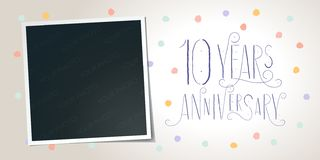 10 years anniversary vector icon, logo. Template design element. Greeting card with collage of photo frame and elegant lettering for 10th anniversary vector illustration