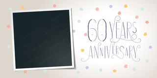 60 years anniversary vector icon, logo. Template design element. Greeting card with collage of photo frame and elegant lettering for 60th anniversary vector illustration