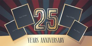 25 years anniversary vector icon, logo. Template design element, greeting card with collage of photo frames and gold color number for 25th anniversary. Can be Royalty Free Stock Image
