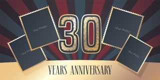 30 years anniversary vector icon, logo. Template design element, greeting card with collage of photo frames and gold color number for 30th anniversary. Can be Royalty Free Stock Photography