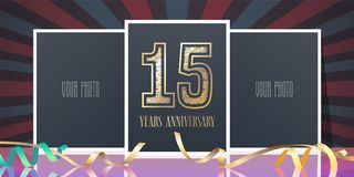 15 years anniversary vector icon, logo. Template design element, greeting card with collage of photo frames and number for 15th anniversary Royalty Free Stock Photos