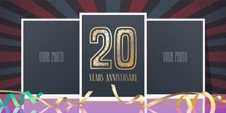 20 years anniversary vector icon, logo. Template design element, greeting card with collage of photo frames and number for 20th anniversary Stock Image