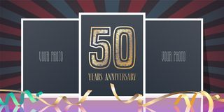 50 years anniversary vector icon, logo. Template design element, greeting card with collage of photo frames and number for 50th anniversary Stock Photo