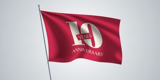 10 years anniversary vector icon, logo. Template design element,. Greeting card with waving flag for 10th anniversary vector illustration