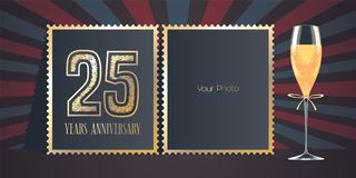 25 years anniversary vector icon, logo. Template design, greeting card with collage of photo frames, number for 25th anniversary and champagne for background Royalty Free Stock Photo