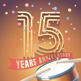 15 years anniversary vector icon, logo. Design element with golden number and drums on background for 15th anniversary stock illustration