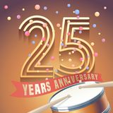 25 years anniversary vector icon, logo. Design element with golden number and drums on background for 25th anniversary Royalty Free Stock Image
