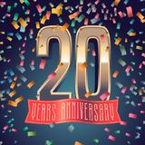 20 years anniversary vector icon, logo. Design element with golden number and festive background for decoration for 20th anniversary Royalty Free Stock Photo