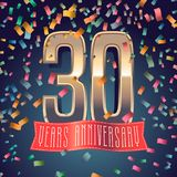 30 years anniversary vector icon, logo. Design element with golden number and festive background for decoration for 30th anniversary Royalty Free Stock Images