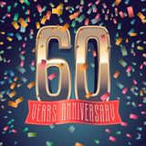 60 years anniversary vector icon, logo. Design element with golden number and festive background for decoration for 60th anniversary vector illustration
