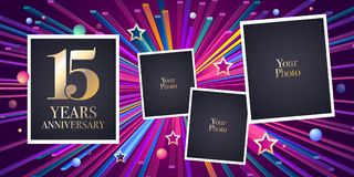 15 years anniversary vector icon, logo. Design element, greeting card with collage of photo frames for 15th anniversary Stock Photography