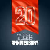 20 years anniversary vector icon, logo. Design element with red flag for decoration for 20th anniversary vector illustration