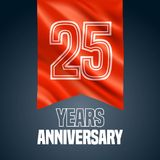 25 years anniversary vector icon, logo. Design element with red flag for decoration for 25th anniversary Stock Photos