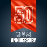 50 years anniversary vector icon, logo. Design element with red flag for decoration for 50th anniversary Royalty Free Stock Photos