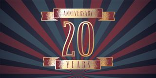 20 years anniversary vector icon, logo. Graphic design element with abstract background for 20th anniversary card Stock Images