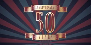 50 years anniversary vector icon, logo. Graphic design element with abstract background for 50th anniversary card Stock Image