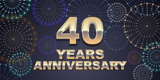 40 years anniversary vector icon, logo Stock Image