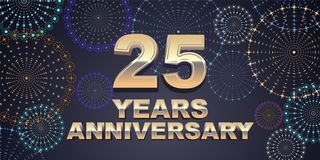 25 years anniversary vector icon, logo. Graphic design element with golden 3D numbers for 25th anniversary decoration Royalty Free Stock Photos