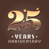 25 years anniversary vector icon, logo. Graphic design element with golden metal effect numbers for 25th anniversary decoration Stock Image