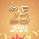 25 years anniversary vector icon, logo. Graphic design element with golden numbers and festive background for 25th anniversary Royalty Free Stock Images