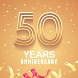 50 years anniversary vector icon, logo. Graphic design element with golden numbers and festive background for 50th anniversary Stock Photography