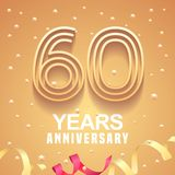 60 years anniversary vector icon, logo. Graphic design element with golden numbers and festive background for 60th anniversary Stock Images