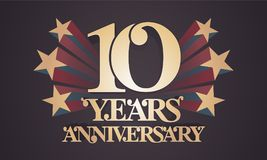 10 years anniversary vector icon, logo. Graphic design element with golden numbers for 10th anniversary celebration Royalty Free Stock Images