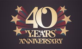 40 years anniversary vector icon, logo Royalty Free Stock Photos