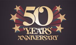 50 years anniversary vector icon, logo. Graphic design element with golden numbers for 50th anniversary celebration Stock Images