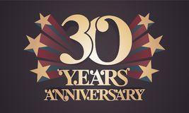 30 years anniversary vector icon, logo. Graphic design element with golden numbers for 30th anniversary celebration Royalty Free Stock Image