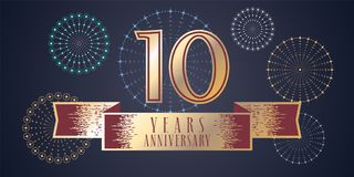10 years anniversary vector icon, logo. Graphic design element, illustration with ribbon and golden color number for 10th anniversary celebration Royalty Free Illustration