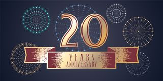 20 years anniversary vector icon, logo. Graphic design element, illustration with ribbon and golden color number for 20th anniversary celebration Royalty Free Stock Photography