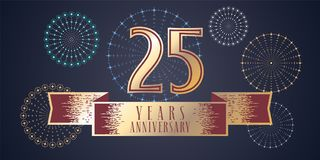 25 years anniversary vector icon, logo. Graphic design element, illustration with ribbon and golden color number for 25th anniversary celebration Royalty Free Stock Images