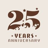 25 years anniversary vector icon, logo. Graphic design element with number and stars decoration for 25th anniversary Royalty Free Stock Image