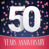 50 years anniversary vector icon, logo. Template design, banner with festive background and cut out numbers for 50th anniversary greeting card royalty free illustration