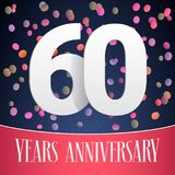 60 years anniversary vector icon, logo. Template design, banner with festive background and cut out numbers for 60th anniversary greeting card Stock Photos