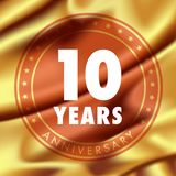 10 years anniversary vector icon, logo. Template design element with golden medal in silk for 10th anniversary greeting card, can be used as decoration element Royalty Free Stock Image