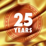 25 years anniversary vector icon, logo. Template design element  with golden medal in silk for 25th anniversary greeting card, can be used as decoration Stock Photos