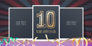 10 years anniversary vector icon, logo. Template design element, greeting card with collage of photo frames and number for 10th anniversary Royalty Free Stock Images