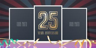25 years anniversary vector icon, logo. Template design element, greeting card with collage of photo frames and number for 25th anniversary Royalty Free Stock Photos