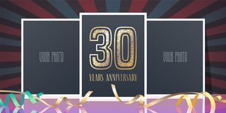 30 years anniversary vector icon, logo. Template design element, greeting card with collage of photo frames and number for 30th anniversary Royalty Free Stock Images