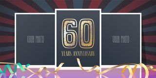 60 years anniversary vector icon, logo. Template design element, greeting card with collage of photo frames and number for 60th anniversary stock illustration