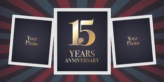 15 years anniversary vector icon, logo. Template design element, greeting card with collage of photo frames for 15th anniversary Stock Photography