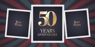 50 years anniversary vector icon, logo. Template design element, greeting card with collage of photo frames for 50th anniversary Royalty Free Stock Image