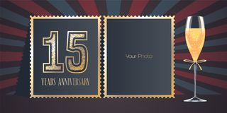15 years anniversary vector icon, logo. Template design, greeting card with collage of photo frames, number for 15th anniversary and champagne for background Stock Images